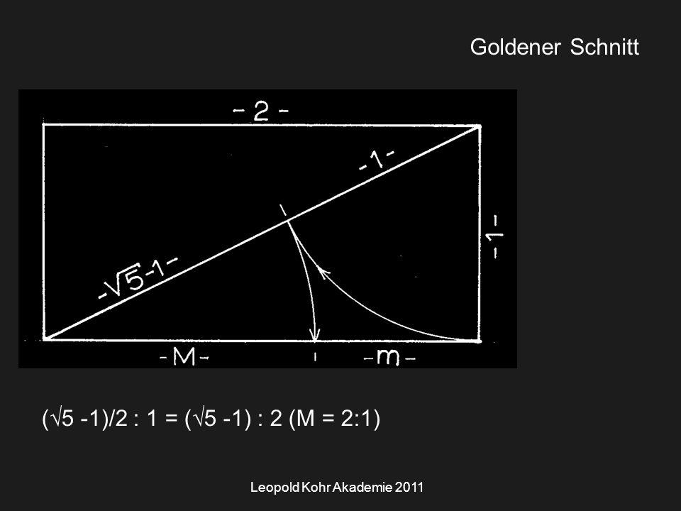 Leopold Kohr Akademie 2011 Goldener Schnitt (  5 -1)/2 : 1 = (  5 -1) : 2 (M = 2:1)