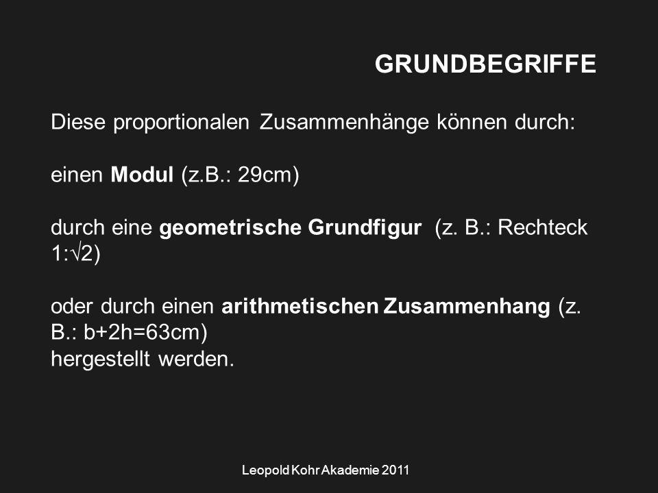 Leopold Kohr Akademie 2011 GRUNDBEGRIFFE Diese proportionalen Zusammenhänge können durch: einen Modul (z.B.: 29cm) durch eine geometrische Grundfigur (z.