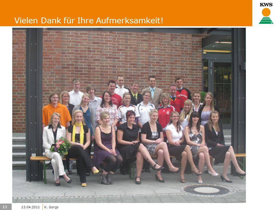 13 KWS UK-LT/HO K. Gorgs 13.04.2011 Vielen Dank für Ihre Aufmerksamkeit!