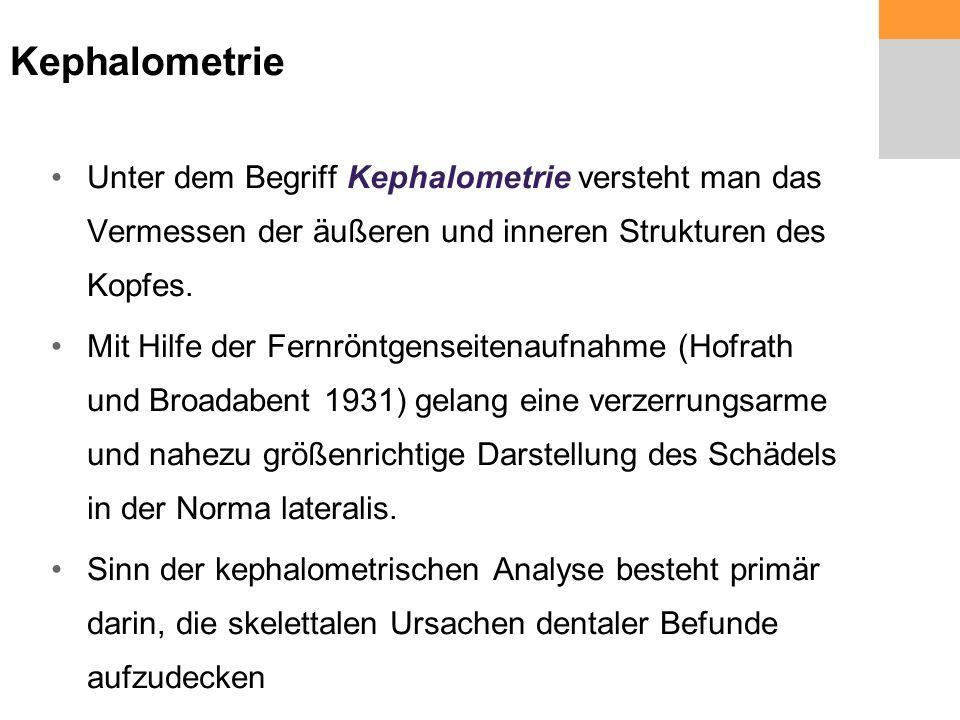 Kephalometrie Unter dem Begriff Kephalometrie versteht man das Vermessen der äußeren und inneren Strukturen des Kopfes.