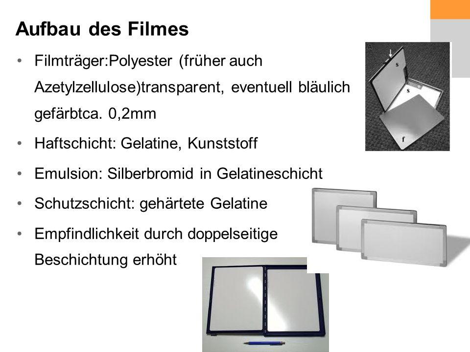 Aufbau des Filmes Filmträger:Polyester (früher auch Azetylzellulose)transparent, eventuell bläulich gefärbtca.