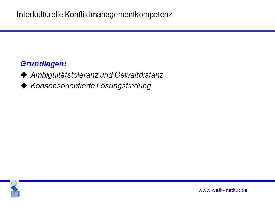 www.waik-institut.de Grundlagen:  Ambiguitätstoleranz und Gewaltdistanz  Konsensorientierte Lösungsfindung Interkulturelle Konfliktmanagementkompetenz