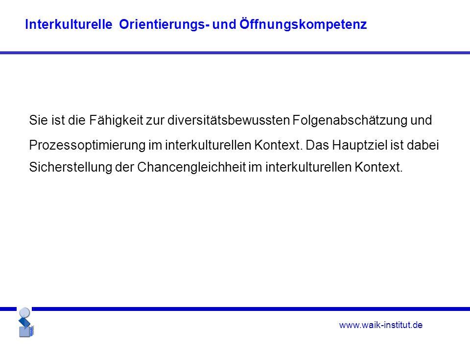 www.waik-institut.de Sie ist die Fähigkeit zur diversitätsbewussten Folgenabschätzung und Prozessoptimierung im interkulturellen Kontext.