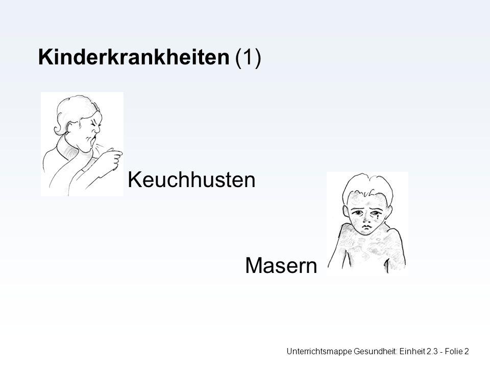 Unterrichtsmappe Gesundheit: Einheit 2.3 - Folie 2 Kinderkrankheiten (1) Keuchhusten Masern