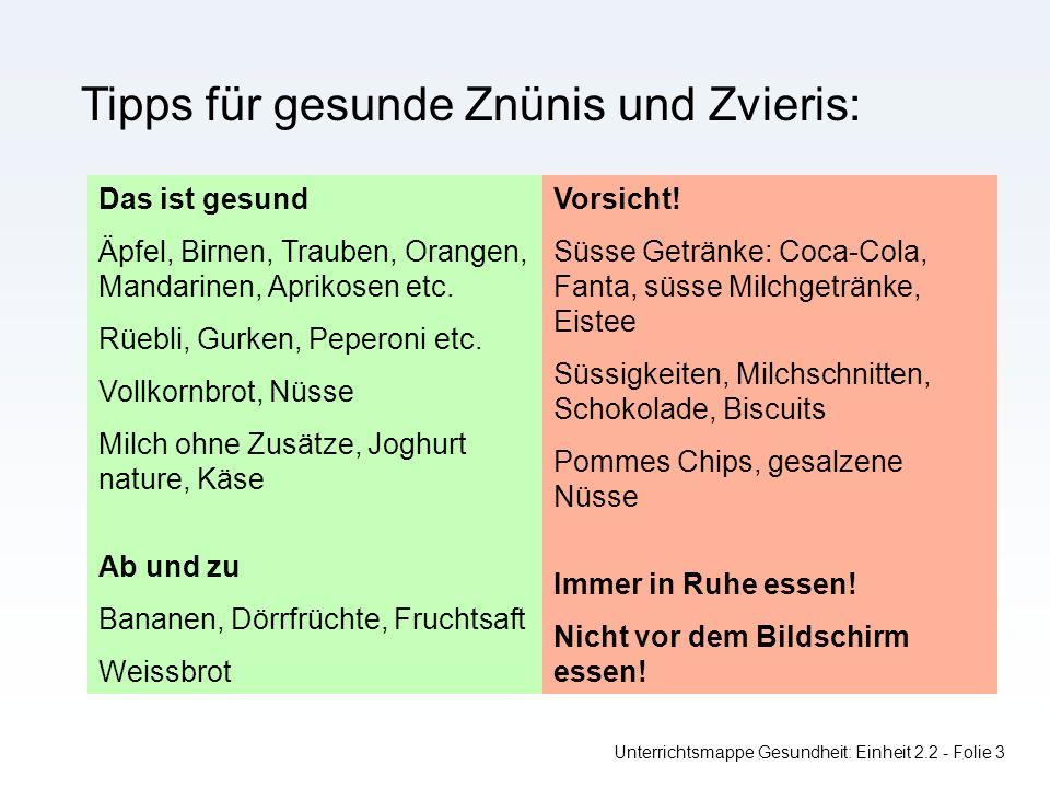 Unterrichtsmappe Gesundheit: Einheit 2.2 - Folie 3 Tipps für gesunde Znünis und Zvieris: Das ist gesund Äpfel, Birnen, Trauben, Orangen, Mandarinen, Aprikosen etc.