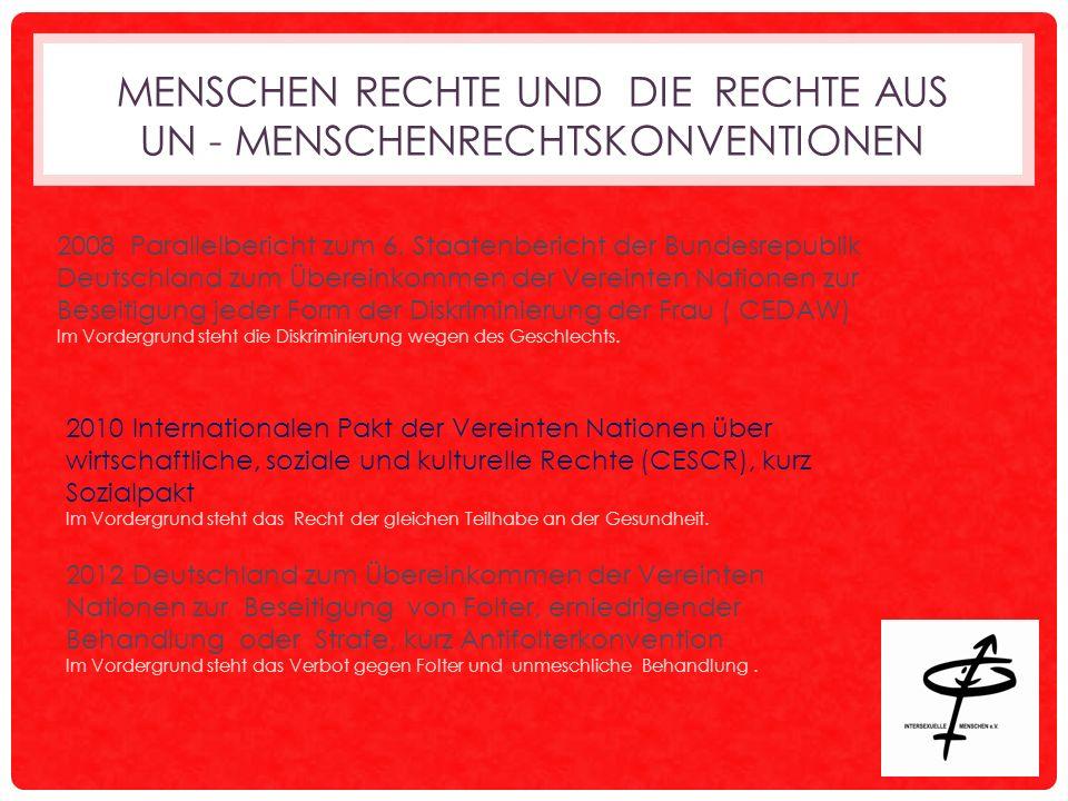 MENSCHEN RECHTE UND DIE RECHTE AUS UN - MENSCHENRECHTSKONVENTIONEN 2008 Parallelbericht zum 6.