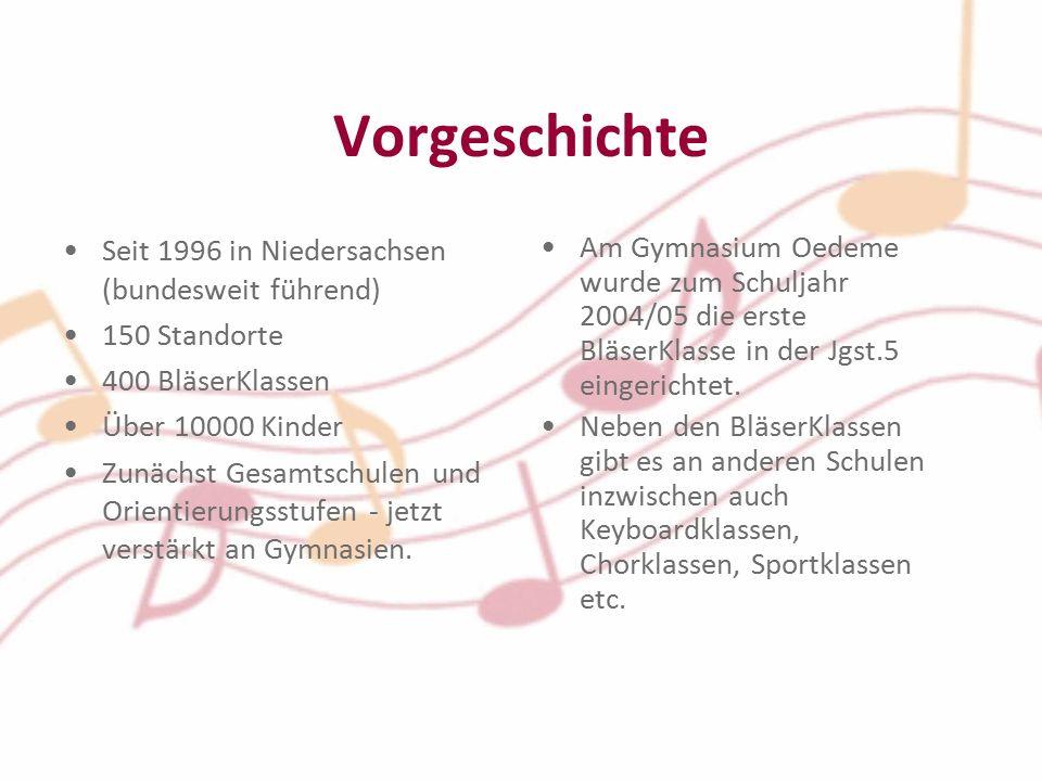 Vorgeschichte Seit 1996 in Niedersachsen (bundesweit führend) 150 Standorte 400 BläserKlassen Über 10000 Kinder Zunächst Gesamtschulen und Orientierungsstufen - jetzt verstärkt an Gymnasien.