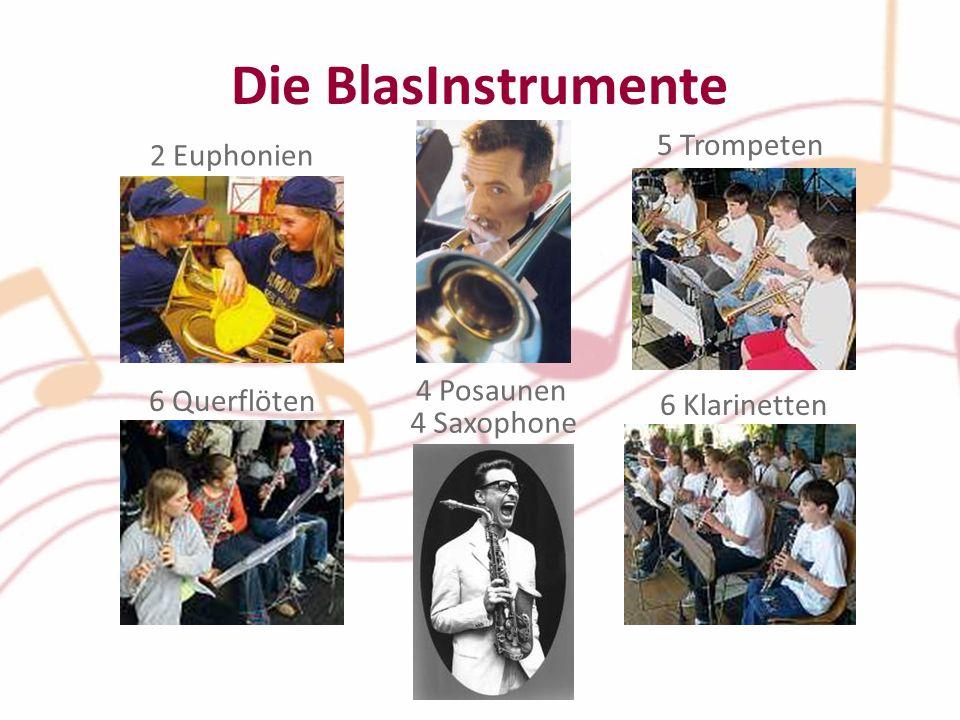 6 Querflöten 5 Trompeten Die BlasInstrumente 6 Klarinetten 2 Euphonien 4 Posaunen 4 Saxophone