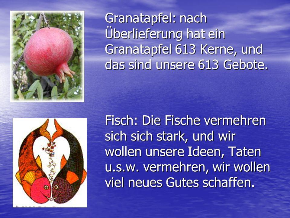 Gerichte: Hala (rundes Brot, Kreislauf des Jahres / des Lebens) Kopf vom Fisch oder auch vom Schaaf (wir wollen der Kopf und nicht der Schwanz sein und unsere eigenen Entscheidungen fällen) Granatapfel: gute Taten sollen so viele sein wie die Kerne, Sie sollen wachsen und mehr werden