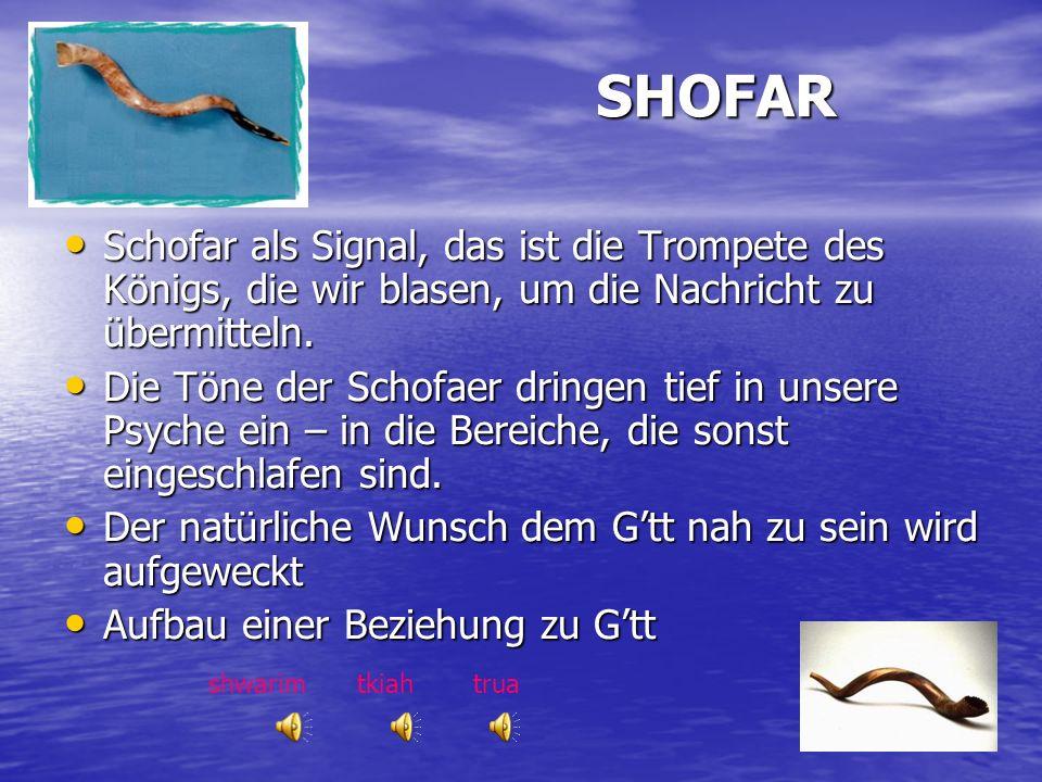 SHOFAR Schofar als Signal, das ist die Trompete des Königs, die wir blasen, um die Nachricht zu übermitteln.