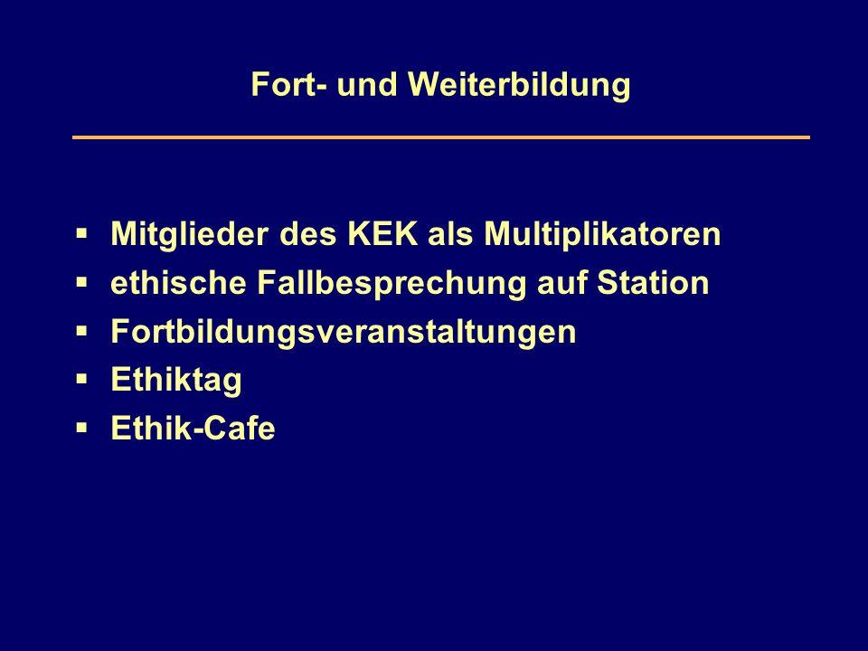 Fort- und Weiterbildung  Mitglieder des KEK als Multiplikatoren  ethische Fallbesprechung auf Station  Fortbildungsveranstaltungen  Ethiktag  Ethik-Cafe