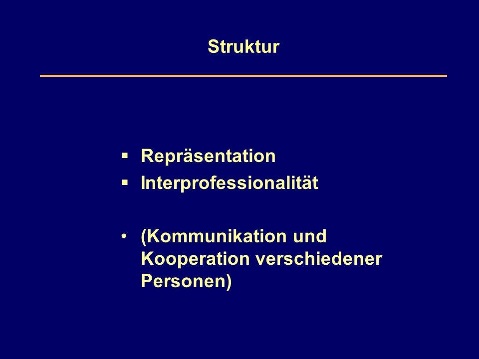 Struktur  Repräsentation  Interprofessionalität (Kommunikation und Kooperation verschiedener Personen)