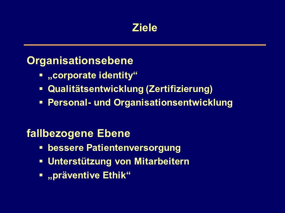 """Ziele Organisationsebene  """"corporate identity  Qualitätsentwicklung (Zertifizierung)  Personal- und Organisationsentwicklung fallbezogene Ebene  bessere Patientenversorgung  Unterstützung von Mitarbeitern  """"präventive Ethik"""