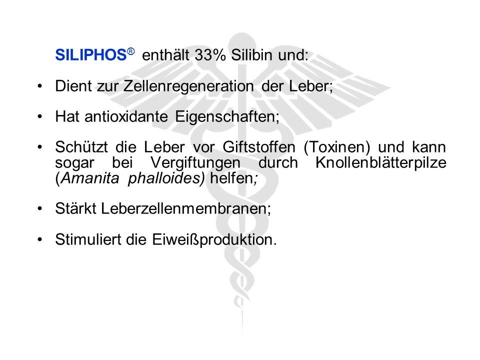SILIPHOS ® enthält 33% Silibin und: Dient zur Zellenregeneration der Leber; Hat antioxidante Eigenschaften; Schützt die Leber vor Giftstoffen (Toxinen) und kann sogar bei Vergiftungen durch Knollenblätterpilze (Amanita phalloides) helfen; Stärkt Leberzellenmembranen; Stimuliert die Eiweißproduktion.