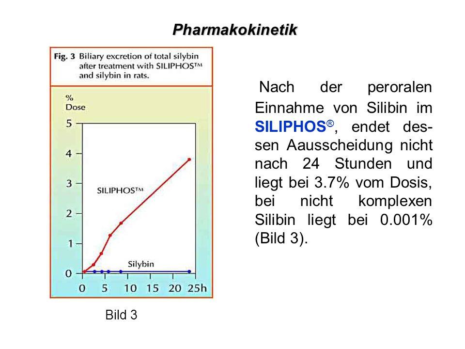Nach der peroralen Einnahme von Silibin im SILIPHOS ®, endet des- sen Aausscheidung nicht nach 24 Stunden und liegt bei 3.7% vom Dosis, bei nicht komplexen Silibin liegt bei 0.001% (Bild 3).