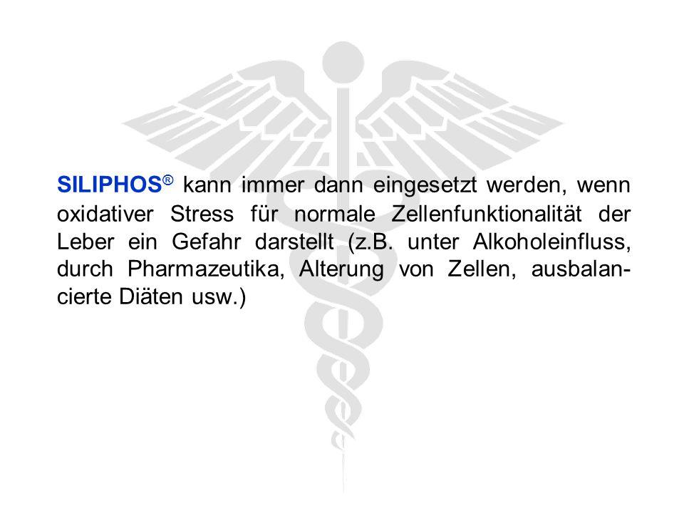 SILIPHOS ® kann immer dann eingesetzt werden, wenn oxidativer Stress für normale Zellenfunktionalität der Leber ein Gefahr darstellt (z.B.