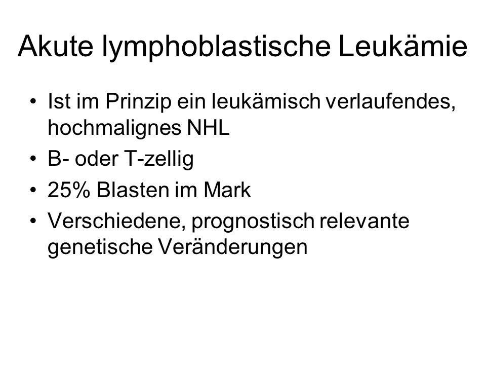 Akute lymphoblastische Leukämie Ist im Prinzip ein leukämisch verlaufendes, hochmalignes NHL B- oder T-zellig 25% Blasten im Mark Verschiedene, prognostisch relevante genetische Veränderungen