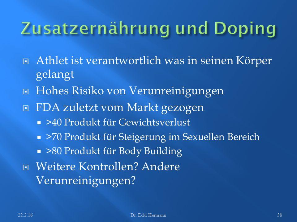  Athlet ist verantwortlich was in seinen Körper gelangt  Hohes Risiko von Verunreinigungen  FDA zuletzt vom Markt gezogen  >40 Produkt für Gewicht