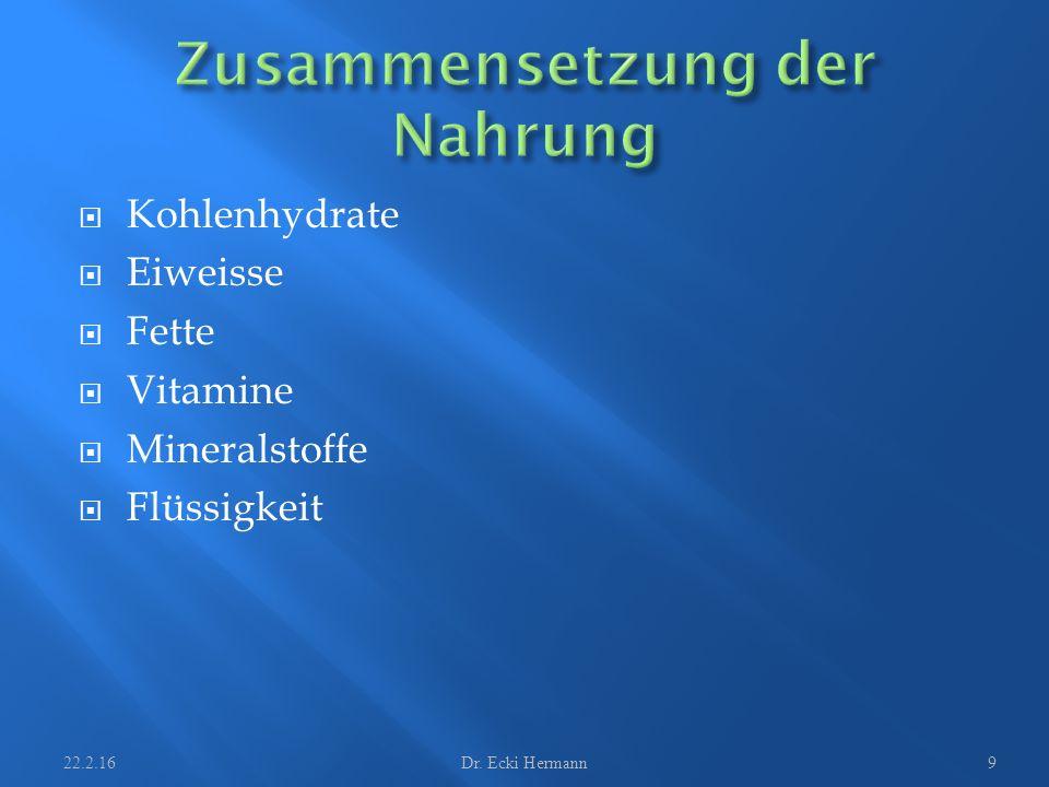  Kohlenhydrate  Eiweisse  Fette  Vitamine  Mineralstoffe  Flüssigkeit 22.2.16Dr. Ecki Hermann9