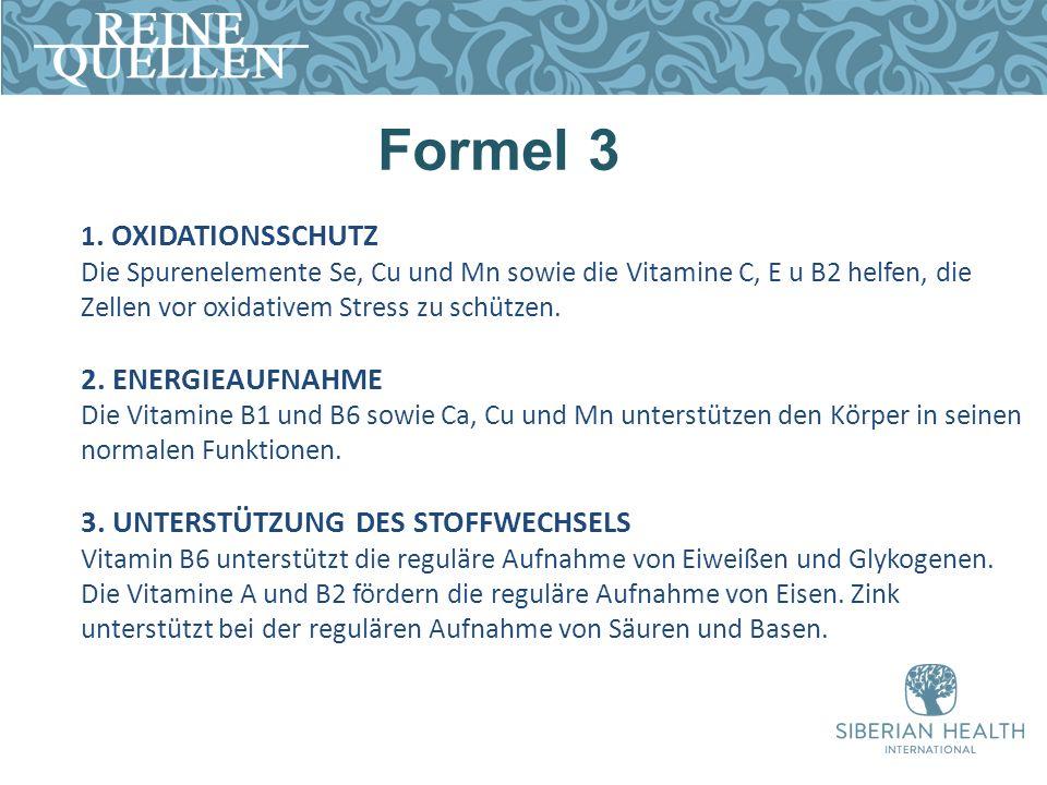 Formel 3 1. OXIDATIONSSCHUTZ Die Spurenelemente Se, Cu und Mn sowie die Vitamine C, E u B2 helfen, die Zellen vor oxidativem Stress zu schützen. 2. EN