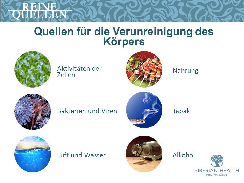 Quellen für die Verunreinigung des Körpers Aktivitäten der Zellen Bakterien und Viren Luft und Wasser Nahrung Tabak Alkohol