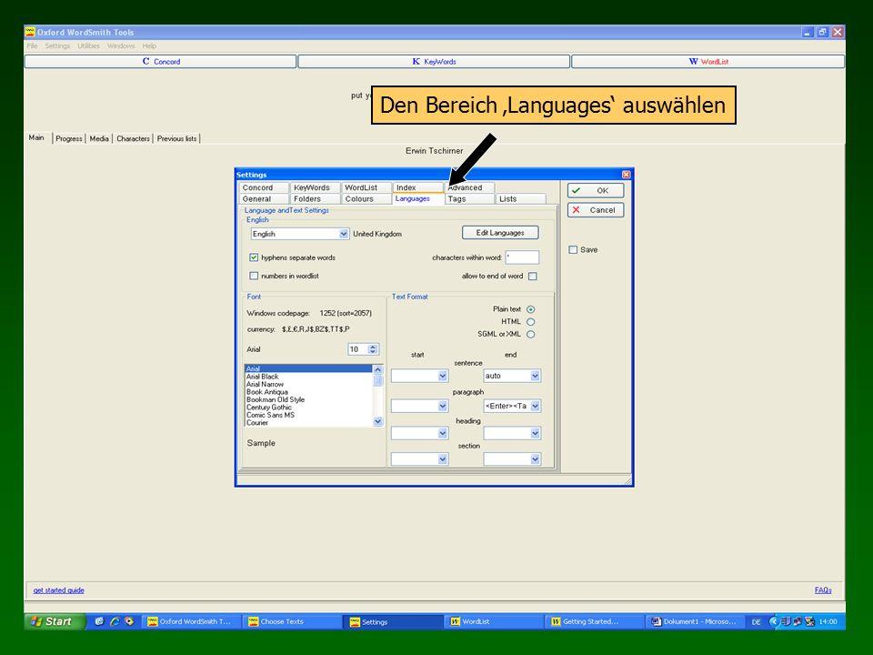 Den Bereich 'Languages' auswählen