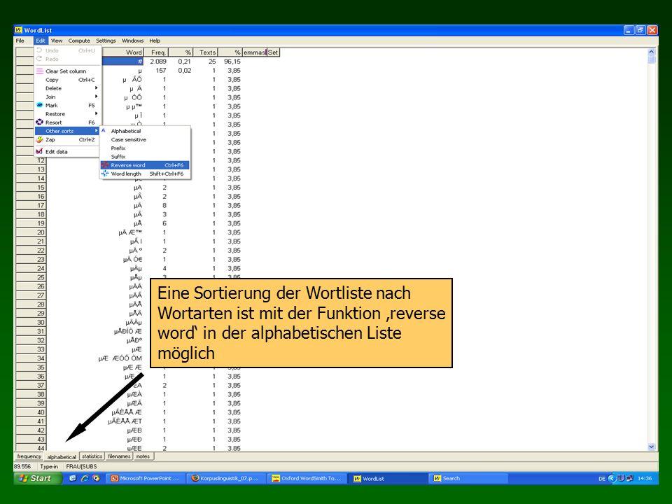 Eine Sortierung der Wortliste nach Wortarten ist mit der Funktion 'reverse word' in der alphabetischen Liste möglich