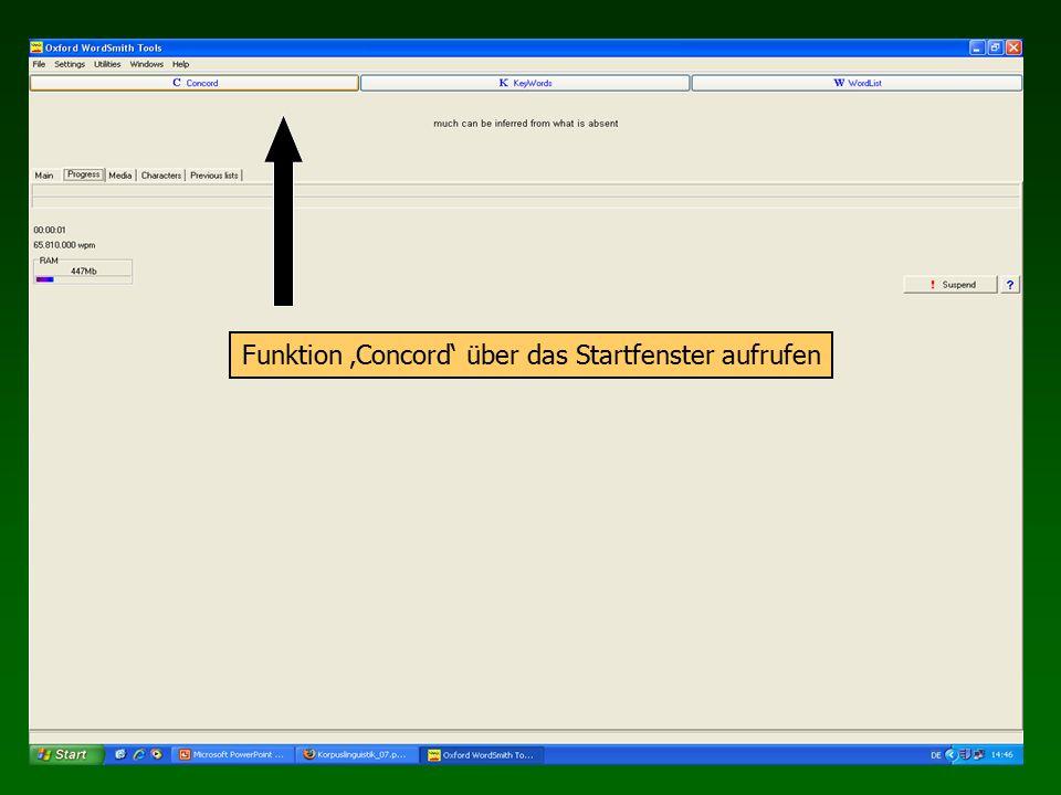 Funktion 'Concord' über das Startfenster aufrufen