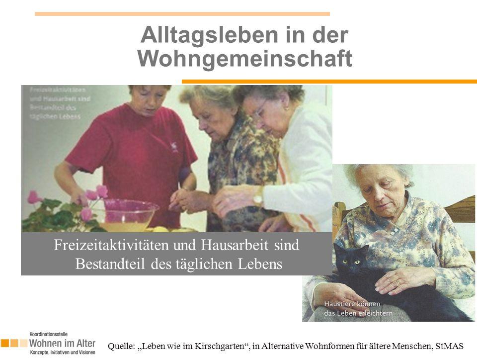 """Alltagsleben in der Wohngemeinschaft 15 Quelle: """"Leben wie im Kirschgarten , in Alternative Wohnformen für ältere Menschen, StMAS Freizeitaktivitäten und Hausarbeit sind Bestandteil des täglichen Lebens"""
