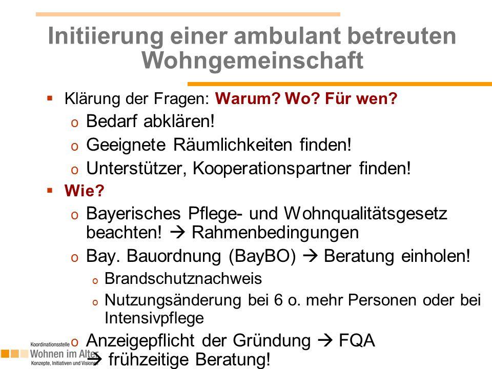 Initiierung einer ambulant betreuten Wohngemeinschaft  Klärung der Fragen: Warum.