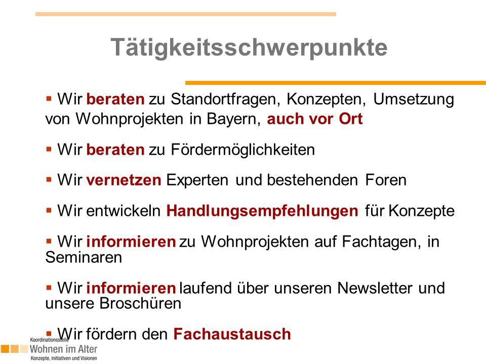 4 Tätigkeitsschwerpunkte  Wir beraten zu Standortfragen, Konzepten, Umsetzung von Wohnprojekten in Bayern, auch vor Ort  Wir beraten zu Fördermöglic