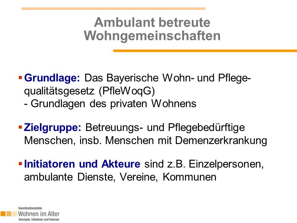 7 Ambulant betreute Wohngemeinschaften  Grundlage: Das Bayerische Wohn- und Pflege- qualitätsgesetz (PfleWoqG) - Grundlagen des privaten Wohnens  Zi