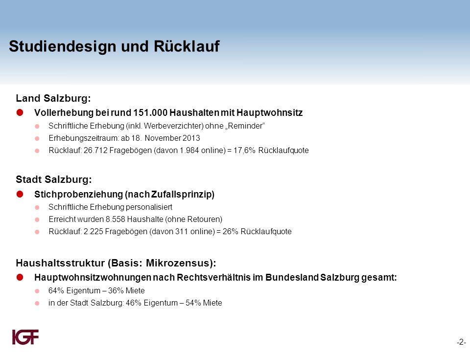 """-3- Zufriedenheit mit der Wohnsituation Basis: 5-stufige Bewertungsskala (Angaben für """"weniger/gar nicht zufrieden gesamt) Durchschnittliche Bewertung: Land Salzburg 1,6 – Stadt Salzburg 2,0"""