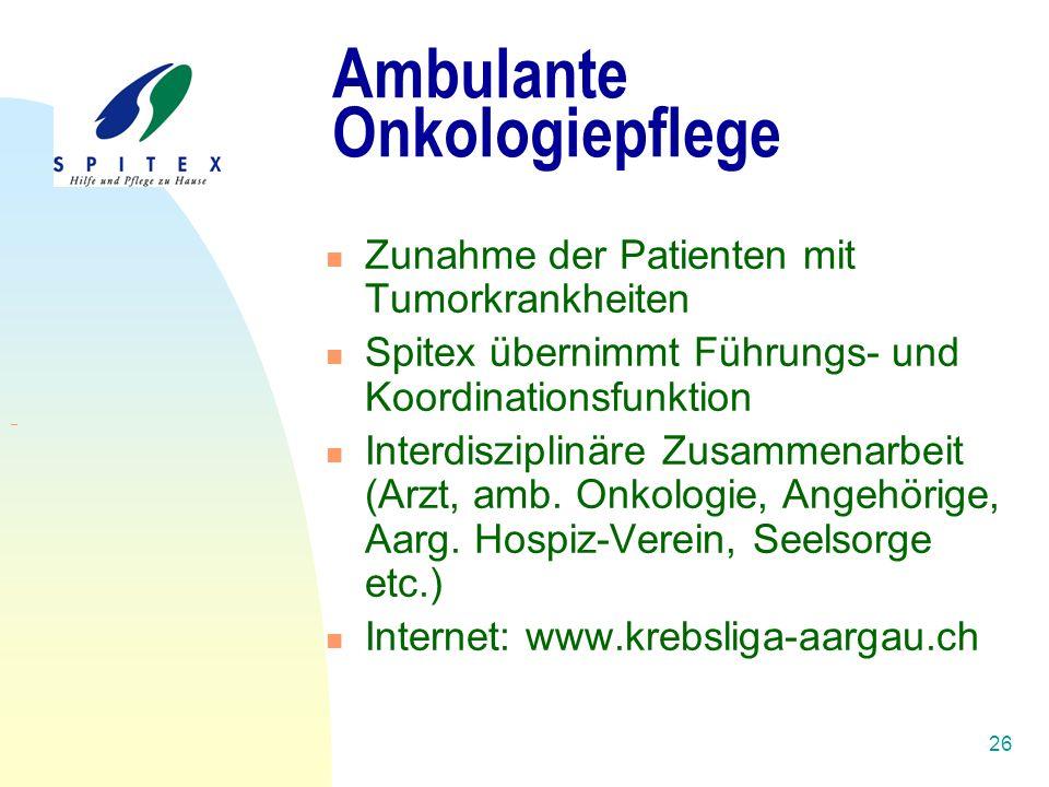 26 Ambulante Onkologiepflege Zunahme der Patienten mit Tumorkrankheiten Spitex übernimmt Führungs- und Koordinationsfunktion Interdisziplinäre Zusammenarbeit (Arzt, amb.