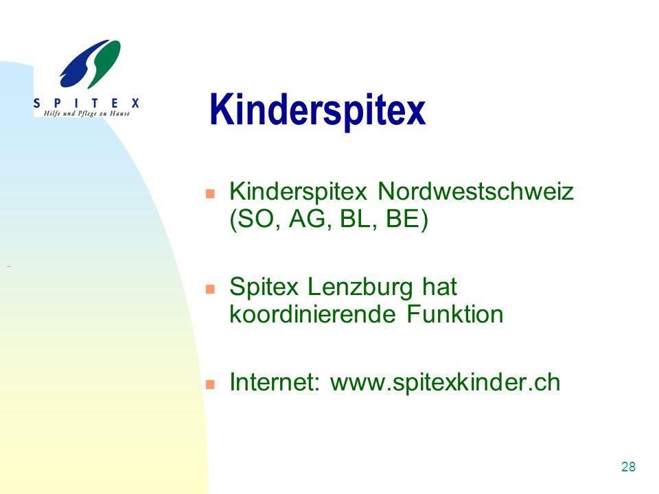 28 Kinderspitex Kinderspitex Nordwestschweiz (SO, AG, BL, BE) Spitex Lenzburg hat koordinierende Funktion Internet: www.spitexkinder.ch