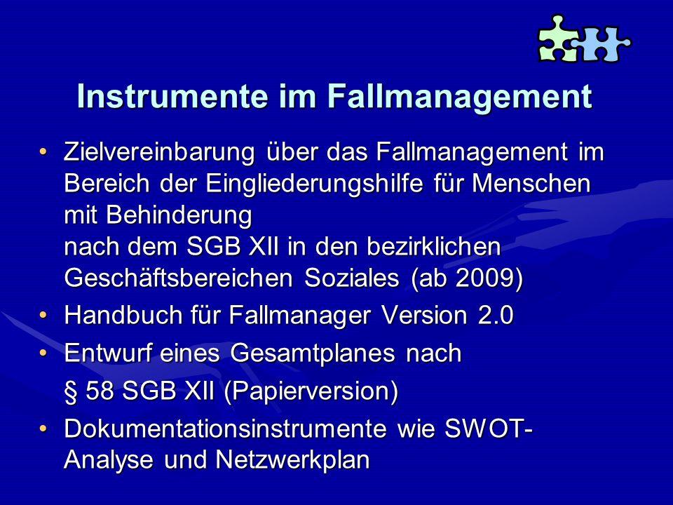 Instrumente im Fallmanagement Zielvereinbarung über das Fallmanagement im Bereich der Eingliederungshilfe für Menschen mit Behinderung nach dem SGB XI