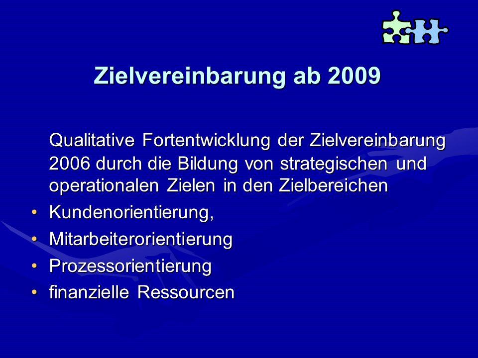Zielvereinbarung ab 2009 Qualitative Fortentwicklung der Zielvereinbarung 2006 durch die Bildung von strategischen und operationalen Zielen in den Zie