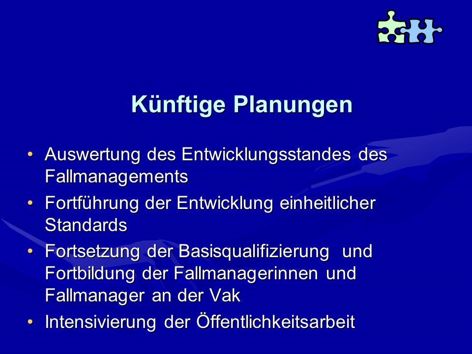 Künftige Planungen Auswertung des Entwicklungsstandes des FallmanagementsAuswertung des Entwicklungsstandes des Fallmanagements Fortführung der Entwic