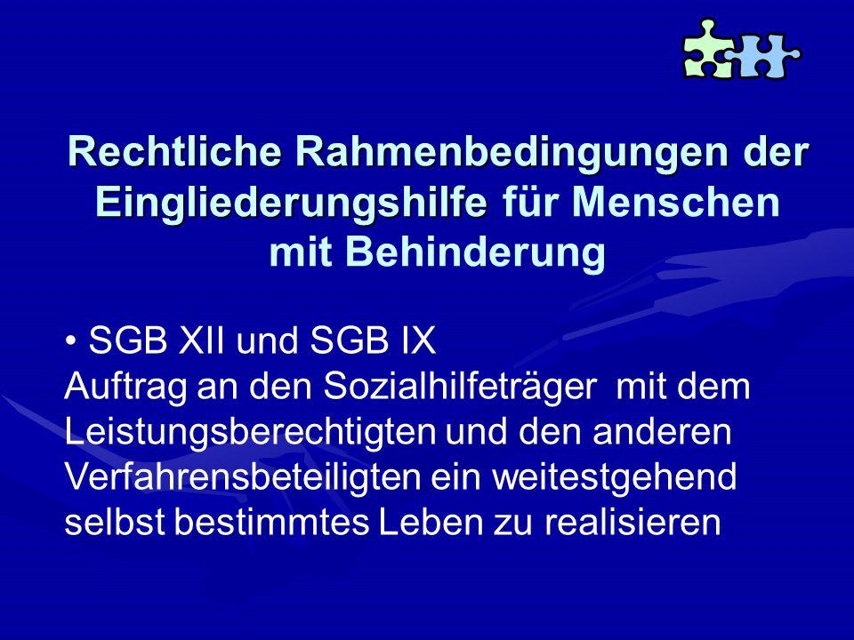 Rechtliche Rahmenbedingungen der Eingliederungshilfe Rechtliche Rahmenbedingungen der Eingliederungshilfe für Menschen mit Behinderung SGB XII und SGB