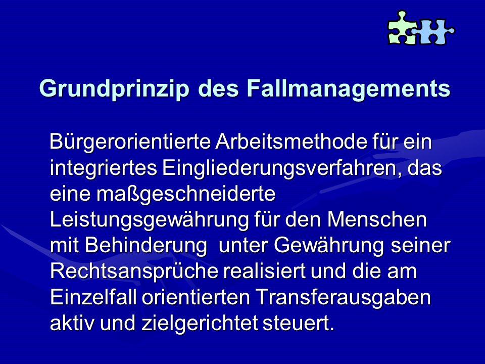 Grundprinzip des Fallmanagements Bürgerorientierte Arbeitsmethode für ein integriertes Eingliederungsverfahren, das eine maßgeschneiderte Leistungsgew