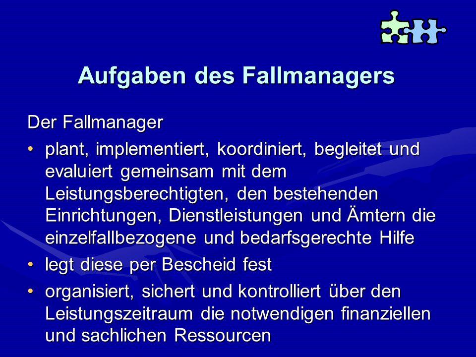 Aufgaben des Fallmanagers Der Fallmanager plant, implementiert, koordiniert, begleitet und evaluiert gemeinsam mit dem Leistungsberechtigten, den best