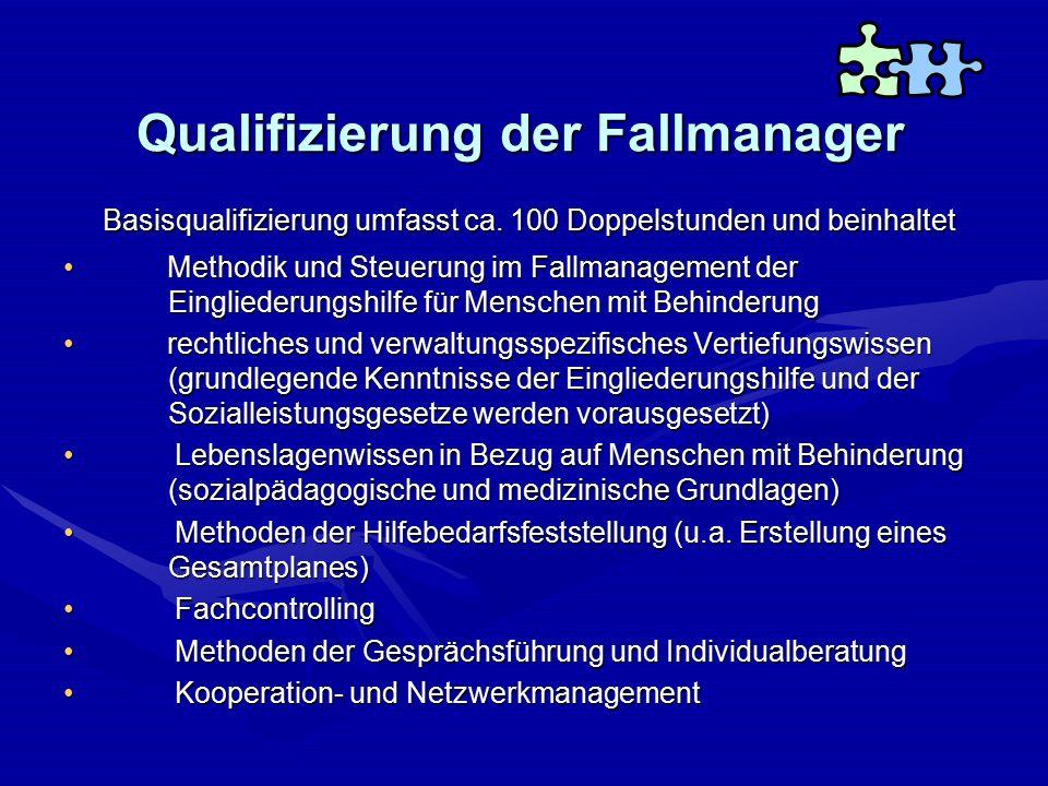 Qualifizierung der Fallmanager Basisqualifizierung umfasst ca. 100 Doppelstunden und beinhaltet Methodik und Steuerung im Fallmanagement der Eingliede