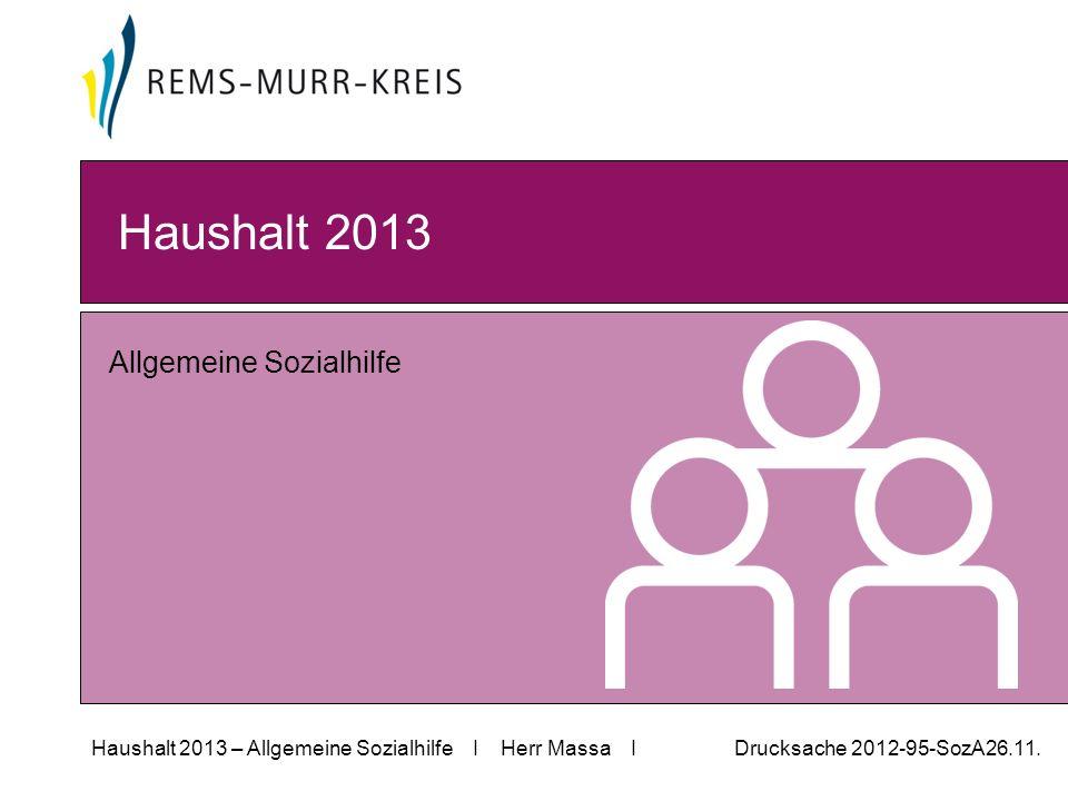 Haushalt 2013 – Allgemeine Sozialhilfe I Herr Massa I Drucksache 2012-95-SozA26.11.