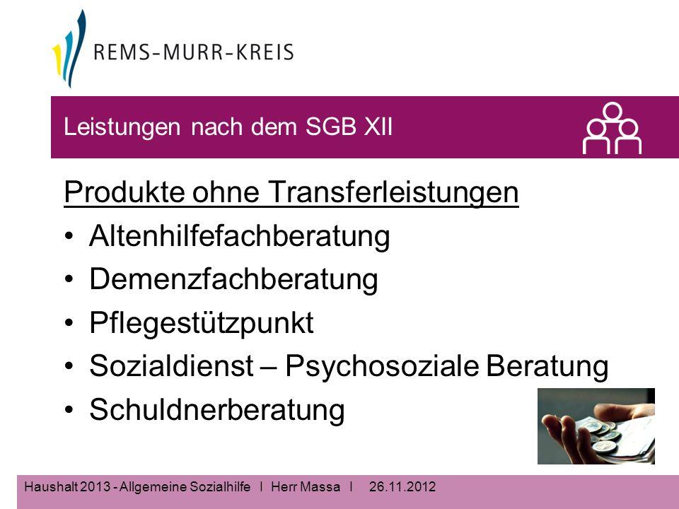 26.11.2012Haushalt 2013 - Allgemeine Sozialhilfe I Herr Massa I