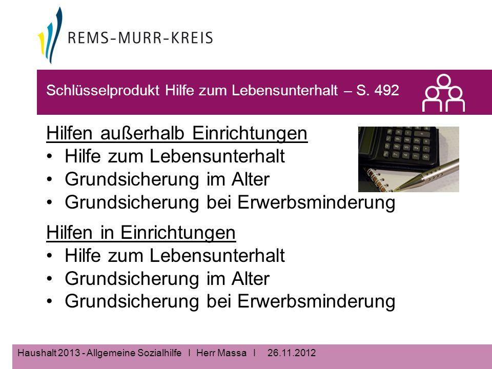 26.11.2012Haushalt 2013 - Allgemeine Sozialhilfe I Herr Massa I Schlüsselprodukt Hilfe zum Lebensunterhalt – S.