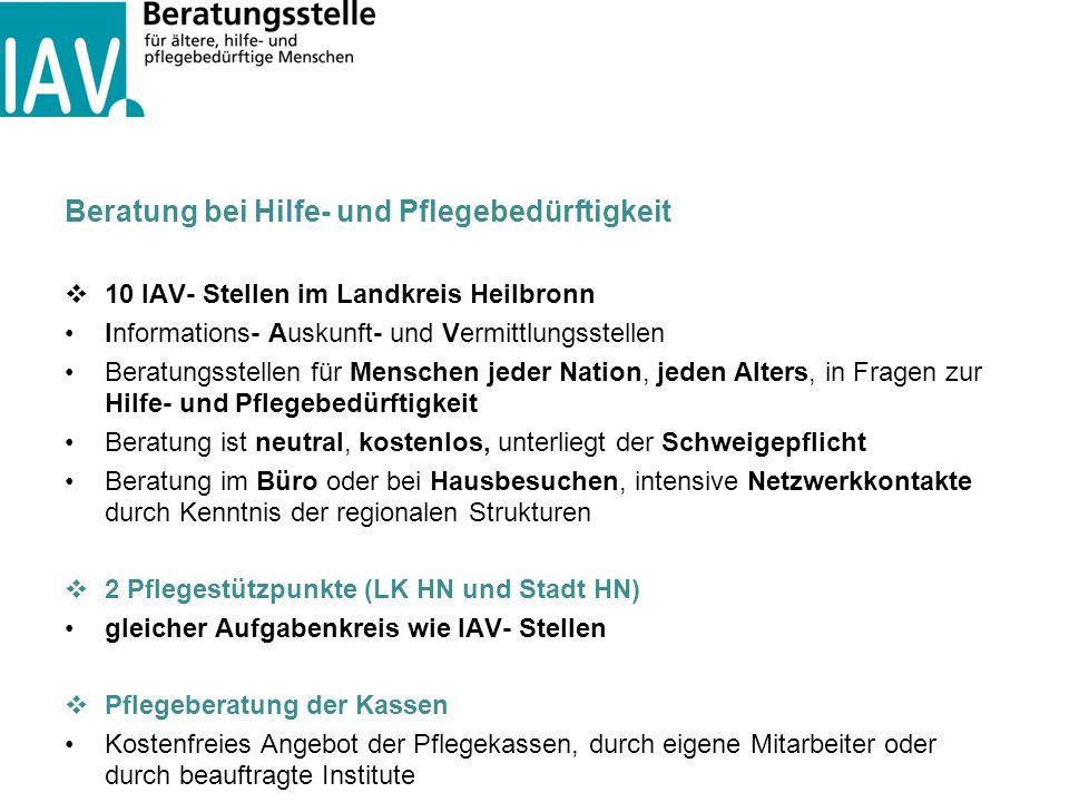 Beratung bei Hilfe- und Pflegebedürftigkeit  10 IAV- Stellen im Landkreis Heilbronn Informations- Auskunft- und Vermittlungsstellen Beratungsstellen