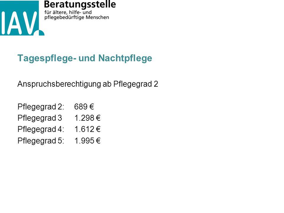 Tagespflege- und Nachtpflege Anspruchsberechtigung ab Pflegegrad 2 Pflegegrad 2:689 € Pflegegrad 31.298 € Pflegegrad 4:1.612 € Pflegegrad 5:1.995 €