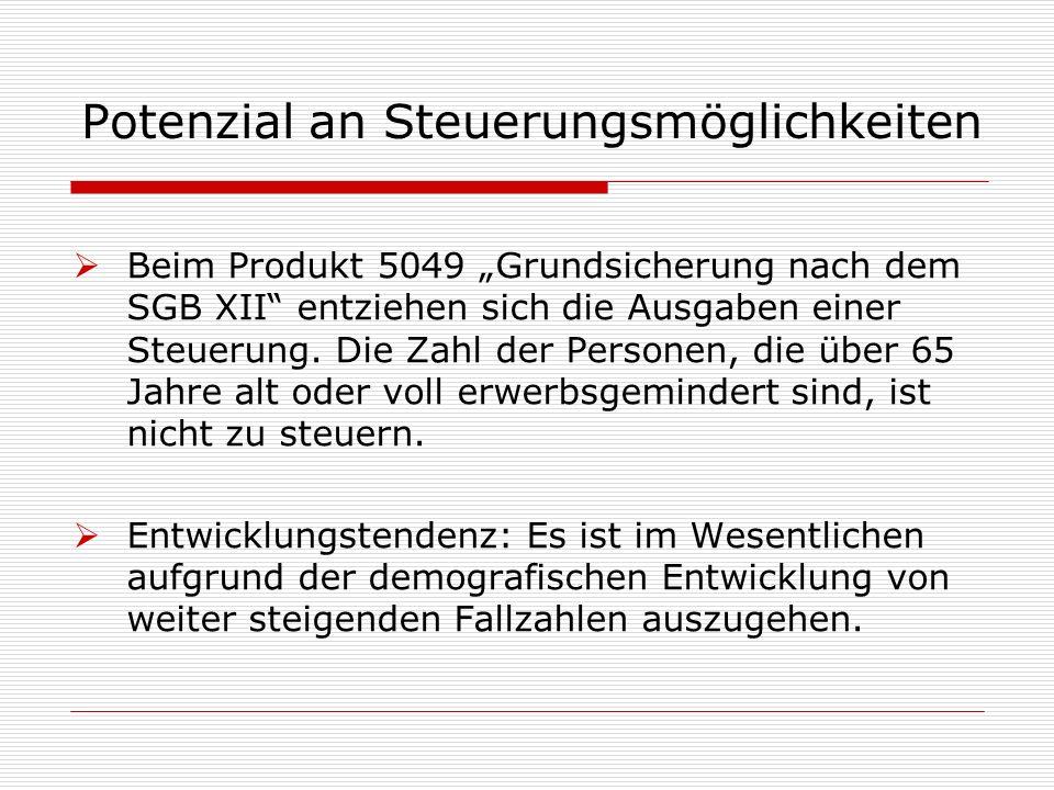 """Potenzial an Steuerungsmöglichkeiten  Beim Produkt 5049 """"Grundsicherung nach dem SGB XII entziehen sich die Ausgaben einer Steuerung."""