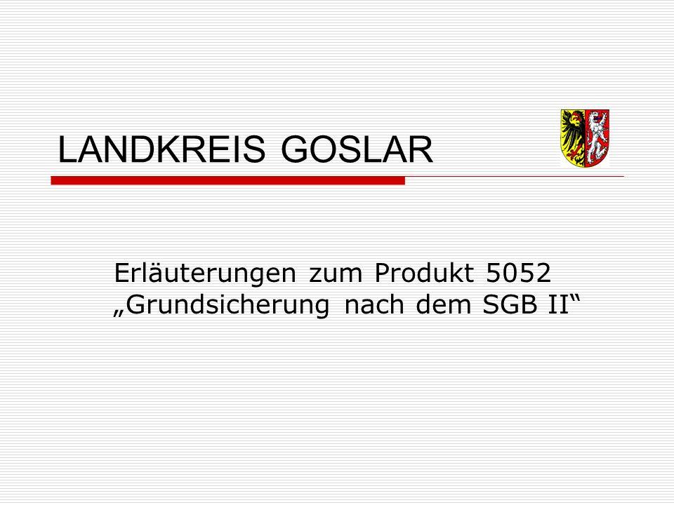"""LANDKREIS GOSLAR Erläuterungen zum Produkt 5052 """"Grundsicherung nach dem SGB II"""
