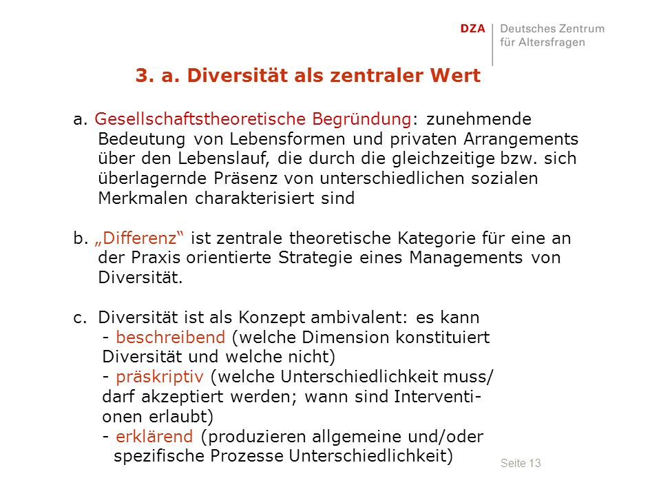 Seite 13 3. a. Diversität als zentraler Wert a.